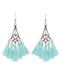 Bohemia Light Blue Hollow Out Decorated Tassel Earrings