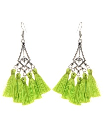 Bohemia Light Green Hollow Out Decorated Tassel Earrings
