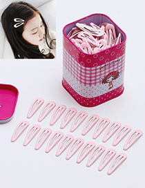 Lovely Pink Pure Color Decorated Children Hair Clip (40pcs+box)