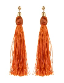 Bohemia Orange Pure Color Decorated Tassel Earrings