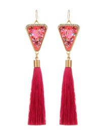 Retro Red Triangle Decorated Tassel Earrings