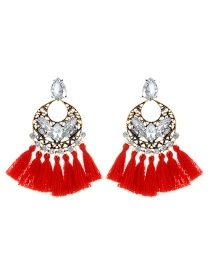 Elegant Red Hollow Out Decorated Tassel Earrings
