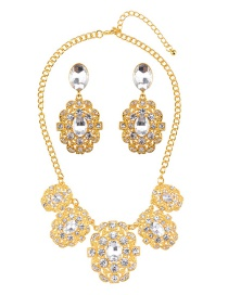 Luxury Gold Color Round Shape Diamond Decorated Jewelry Sets