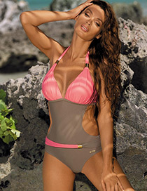 Sexy Pink Color-maching Decorated Swimwear