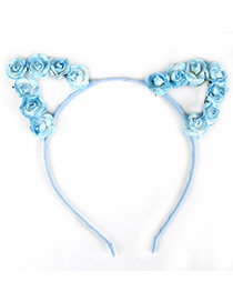 Lovely Blue Flower Shape Decorated Cat Ear Hair Clasp