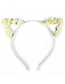 Lovely Beige Flower Shape Decorated Cat Ear Hair Clasp