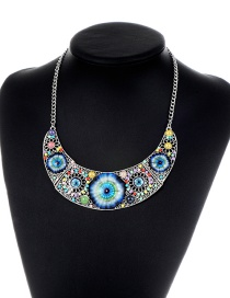 Retro Silver Color Color-matching Decorated Necklace