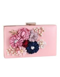 Elegant Pink Flower Shape Decorated Hand Bag