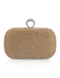 Luxury Gold Color Round Shape Decorated Hand Bag