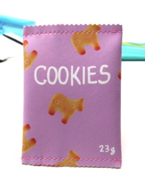 Lovely Puple Cookies Pattern Decorated Coin Purse