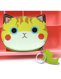 Cute Yellow Cat Shape Decorated Coin Purse