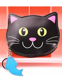 Cute Black Cat Shape Decorated Coin Purse