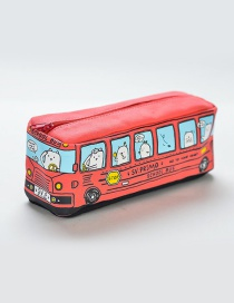 Fashion Red Bus Pattern Decorated Pencil Case