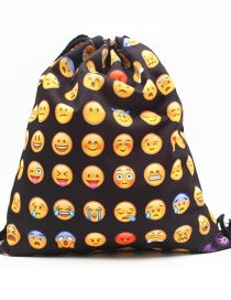 Fashion Black Expression Pattern Decorated Backpack