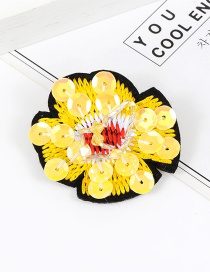 Elegant Yellow Flower Shape Decorated Brooch