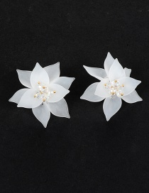 Elegant White Flower Shape Decorated Earrings