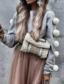 Lovely Gray Fuzzy Ball Decorated Blouse