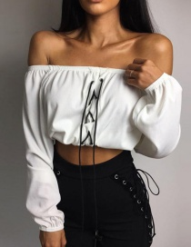 Fashion White Off The Shoulder Decorated Blouse