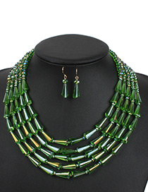 Fashion Green Water Dropr Decorated Jewelry Set