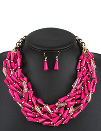 Fashion Plum Red Water Drop Decorated Jewelry Set