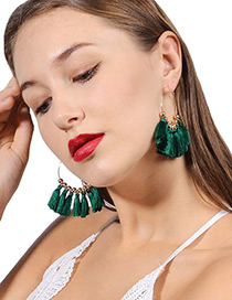 Vintage Green Tassel Decorated Sector Shape Earrings