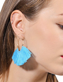 Vintage Blue Tassel Decorated Earrings