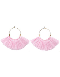 Vintage Pink Tassel Decorated Earrings