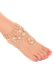 Fashion Gold Color Water Drop Shape Decorated Anklet