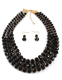 Fashion Black Pure Color Decorated Jewelry Set