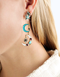 Fashion Multi-color Moon&star Shape Decorated Earrings