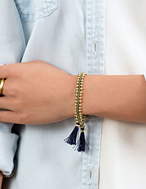 Fashion Gold Color+blue Tassel Decorated Bracelet