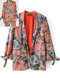 Fashion Pink Flower Pattern Decorated Coat