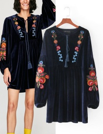 Fashion Navy Embroidery Flower Decorated Dress
