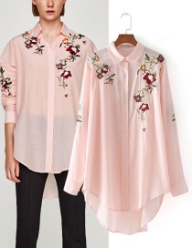Fashion Pink Embroidery Flower Decorated Shirt