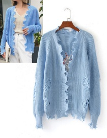 Fashion Blue Cranes Pattern Decorated Coat