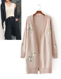Fashion Pink Embroidery Flower Decorated Coat