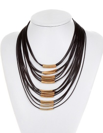 Fashion Brown Pure Color Decorated Multi-layer Necklace