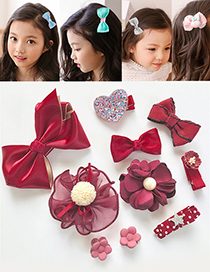 Fashion Claret Red Flower&bowknot Shape Decorated Hair Clip (10 Pcs)