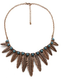 Fashion Gold Color Leaf Shape Decorated Necklace