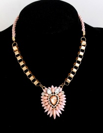 Fashion Pink Flower Shape Decorated Necklace