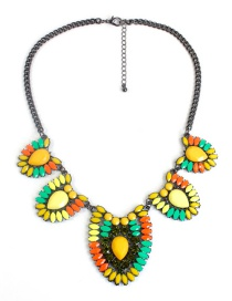 Fashion Yellow Diamond Decorated Necklace