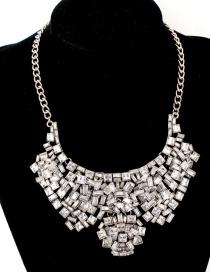 Fashion Silver Color Diamond Decorated Necklace
