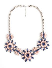 Fashion Multi-color Flower Shape Decorated Necklace