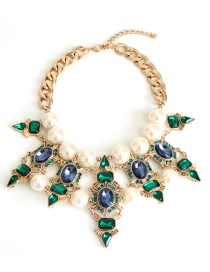 Fashion Multi-color Pearl&diamond Decorated Necklace