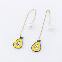 Fashion Yellow Pear Shape Decorated Pure Color Earrings