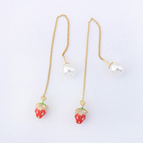 Fashion Red+gold Color Strawberry Shape Decorated Pure Color Earrings