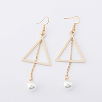 Fashion Apricot Pearl Decorated Triangle Shape Pure Color Earrings