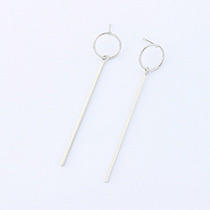 Fashion Silver Color Circular Ring Shape Decorated Pure Color Earrings