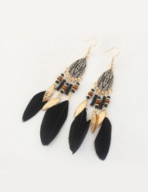 Fashion Black Feather&leaf Decorated Pure Color Earrings