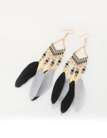 Fashion Black Bead&feather Deocrated Pure Color Earrings